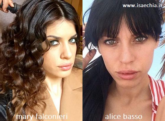 Somiglianza tra Mary Falconieri e Alice Basso