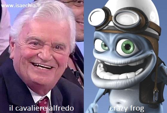 Somiglianza tra Alfredo, cavaliere del Trono over di 'Uomini e Donne', e Crazy Frog