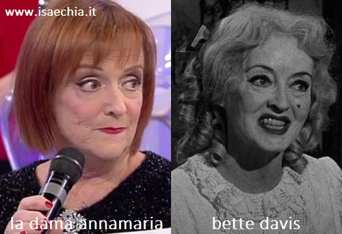 Somiglianza tra Annamaria, dama del Trono over di 'Uomini e Donne', e Bette Davis