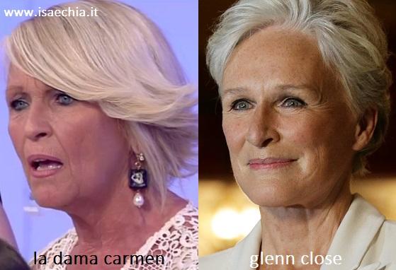 Somiglianza tra Carmen, dama del Trono over di 'Uomini e Donne', e Glenn Close