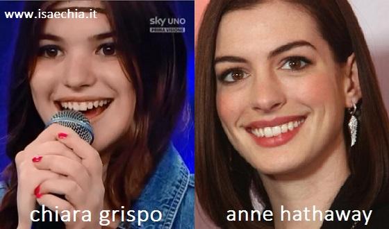 Somiglianza tra Chiara Grispo e Anne Hathaway