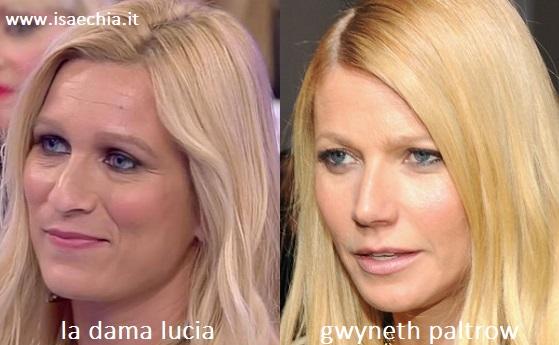 Somiglianza tra Lucia, dama del Trono over di 'Uomini e Donne', e Gwyneth Paltrow