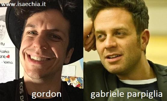 Somiglianza tra Gordon e Gabriele Parpiglia
