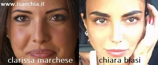 Somiglianza tra Clarissa Marchese e Chiara Biasi