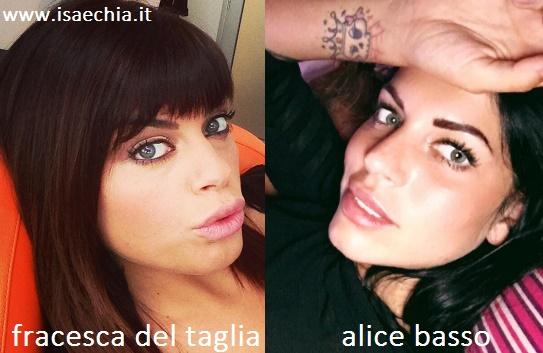 Somiglianza tra Francesca Del Taglia e Alice Basso
