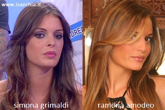 Somiglianza tra Simona Grimaldi e Ramona Amodeo