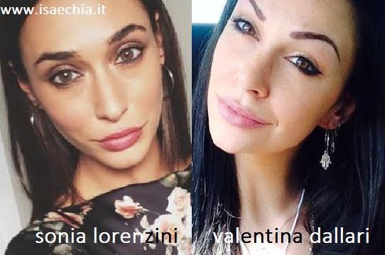 Somiglianza tra Sonia Lorenzini e Valentina Dallari