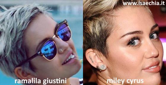 Somiglianza tra Rama Lila Giustini e Miley Cyrus