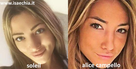 Somiglianza tra Soleil Anastasia Sorge e Alice Campello