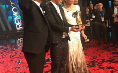 Sanremo 2017 - Carlo Conti e Francesco Gabbani e Maria De Filippi
