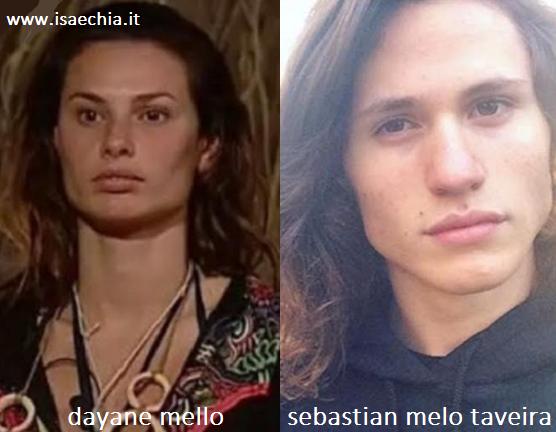 Somiglianza tra Dayane Mello e Sebastian Melo Taveira