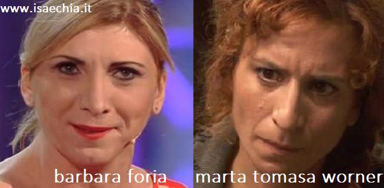 Somiglianza tra Barbara Foria e Marta Tomasa Worner