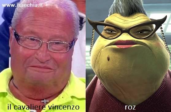 Somiglianza tra Vincenzo e Roz di 'Monsters & Co.'