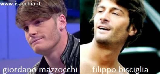Somiglianza tra Giordano Mazzocchi e Filippo Bisciglia
