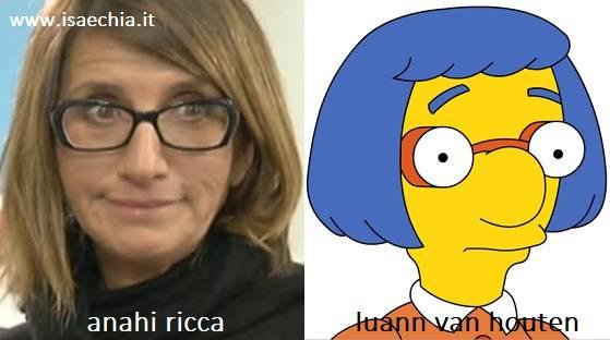 Somiglianza tra Anahi Ricca e Luann Van Houten de 'I Simpson'