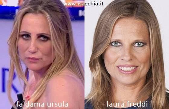 Somiglianza tra Ursula, dama del Trono over di 'Uomini e Donne', e Laura Freddi