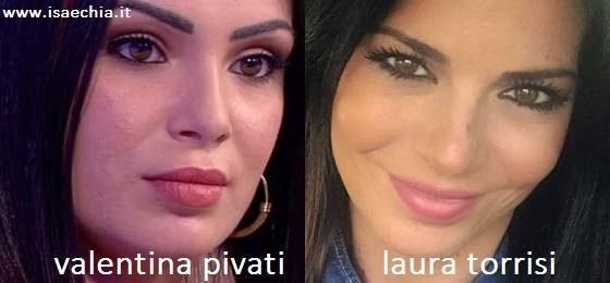 Somiglianza tra Valentina Pivati e Laura Torrisi